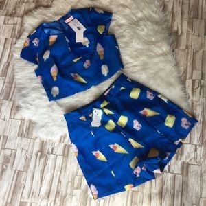 NWT Re:named ice cream party crop top & shorts